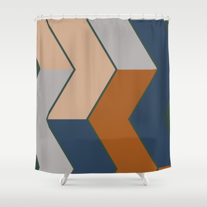 Modern Fall Winter Color Pattern Shower Curtain