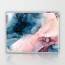 Pastel Plum, Deep Blue, Blush and Gold Abstract Painting Laptop & iPad Skin