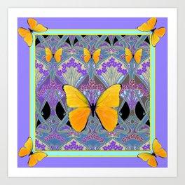 Pastel Lilac yellow butterflies Art Nouveau Design Art Print