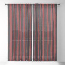 Black and Red Stripes Sheer Curtain