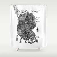 library Shower Curtains featuring the wandering library 2 by vasodelirium