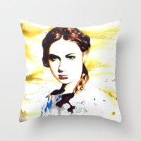 amy pond Throw Pillows featuring Karen Gillan (Amy Pond) by TheJollyRambler