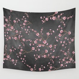 SAKURA LOVE - GRUNGE BLACK Wall Tapestry