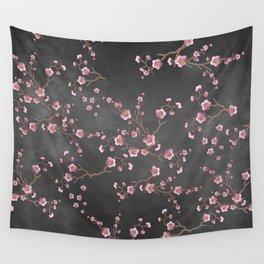 SAKURA LOVE - GRUNGE BLACK Wall Tapestry