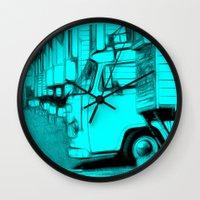 volkswagen Wall Clocks featuring Volkswagen Van by Rainer Steinke