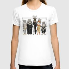 Unusual Suspects White Womens Fitted Tee MEDIUM