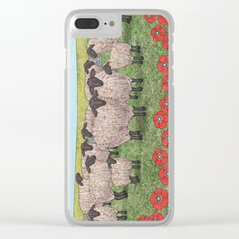 Suffolk sheep in a field with poppies Clear iPhone Case