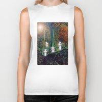 kodama Biker Tanks featuring Kodama under the tree by pkarnold + The Cult Print Shop