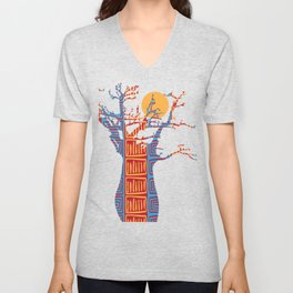 African Baobab tree of life at Sunset Unisex V-Neck