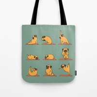 huebucket Tote Bags featuring Pug Yoga by Huebucket