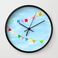 flag Wall Clocks featuring flag by hichako