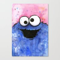 cookie monster Canvas Prints featuring Cookie Monster by Olechka