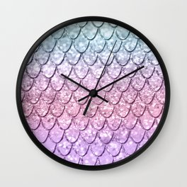 Mermaid Scales on Unicorn Girls Glitter #4 #shiny #pastel #decor #art #society6 Wall Clock