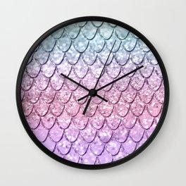 Mermaid Scales on Unicorn Girls Glitter #4 #shiny #pastel #decor #art #society6 Wall Clock