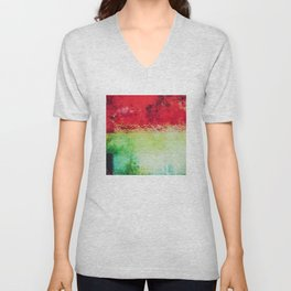 Modern Texture Red Abstract Unisex V-Neck