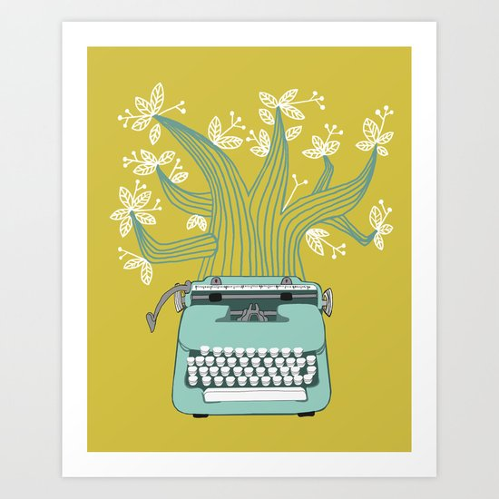 The Typing Tree Blue Art Print