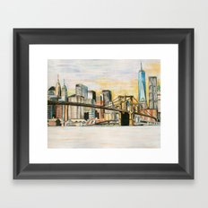 NYC Scape Downtown  Framed Art Print