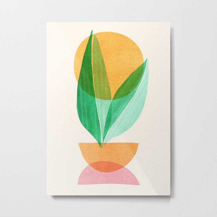 Summer Stack / Abstract Plant Illustration Metal Print