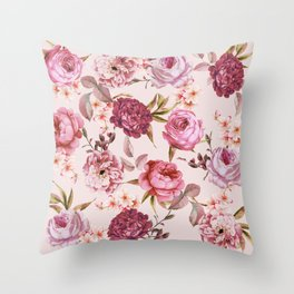 Blush Pink and Red Watercolor Floral Roses Throw Pillow