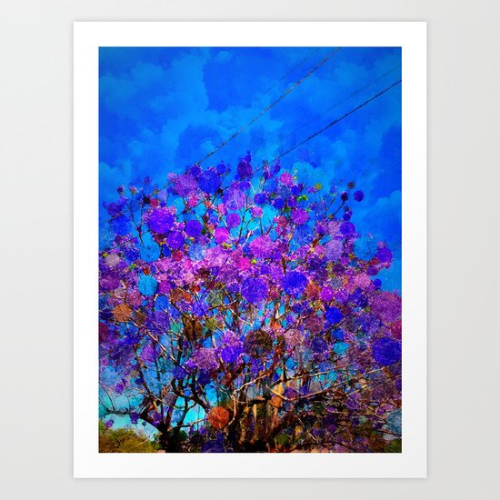 Purple Stained Glass Tree Art Print