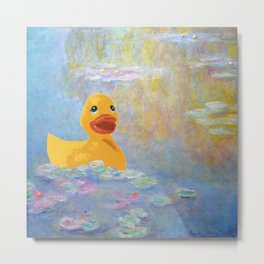 CONFUSED MONET, WATER LILLIES & RUBBER DUCK Metal Print