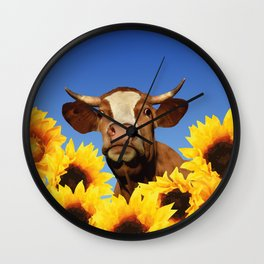 Happy Cow with Sunflowers Wall Clock