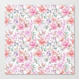 Vintage pink coral pastel green elegant chic floral Canvas Print