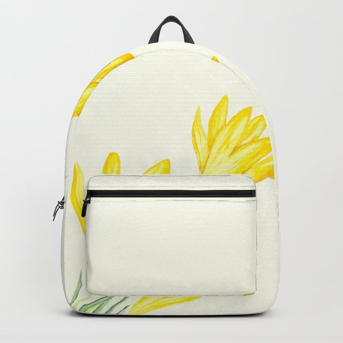 yellow botanical crocus watercolor Backpack