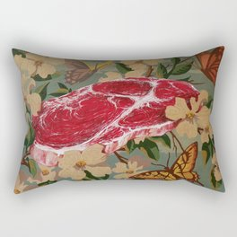 Butterflies, Blossoms and Beef Rectangular Pillow