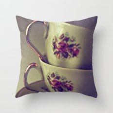 Granny's Tea Cups Throw Pillow