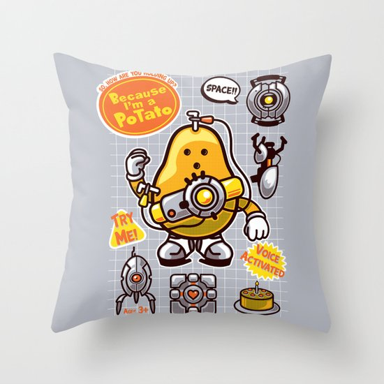 Mrs. Potato GLADos Throw Pillow