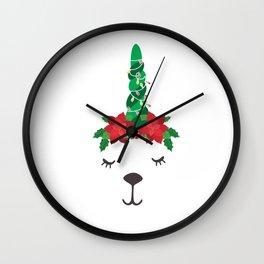 Llama Christmas Tree And Lights Poinsettia Wall Clock