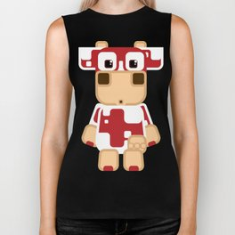 Super cute cartoon cow in red - a moo-st have design for  cow enthusiasts! Biker Tank