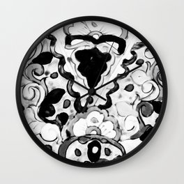 Black and White Talavera Three Wall Clock