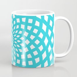 Classic Rosette Pattern in Stong Cyan and White Coffee Mug