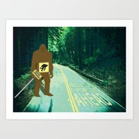sasquatch Art Prints featuring Sasquatch by John D'Amelio