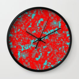 A interweaving cluster of red bodies on a light blue background. Wall Clock