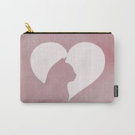 Watercolor Cat Heart Carry-All Pouch