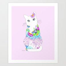 Blue-Eyed Lilac Kitty Art Print
