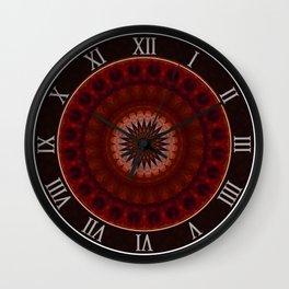 Mandala in red and orange tones Wall Clock