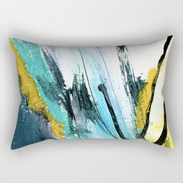 Splash: a vibrant mixed media piece in blues and yellows Rectangular Pillow