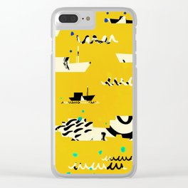 Tall ships in yellow Clear iPhone Case