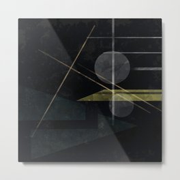Abstract painting in black colors . Metal Print