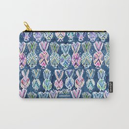 NAVY TRIBAL PINEAPPLES Carry-All Pouch