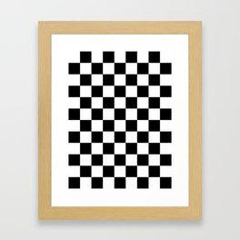 Checkered - White and Black Framed Art Print