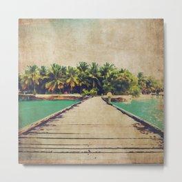 Watercolor Beach Walk  Metal Print
