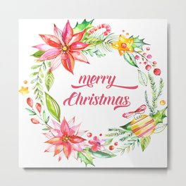 Colorful Christmas Floral Wreath Merry Christmas Typography Metal Print