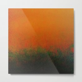 Orange and Black Merge with a Hint of Green Metal Print