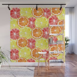 Grapefruit Lemon Orange Pattern Wall Mural