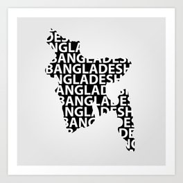 Typography Map of Bangladesh Art Print